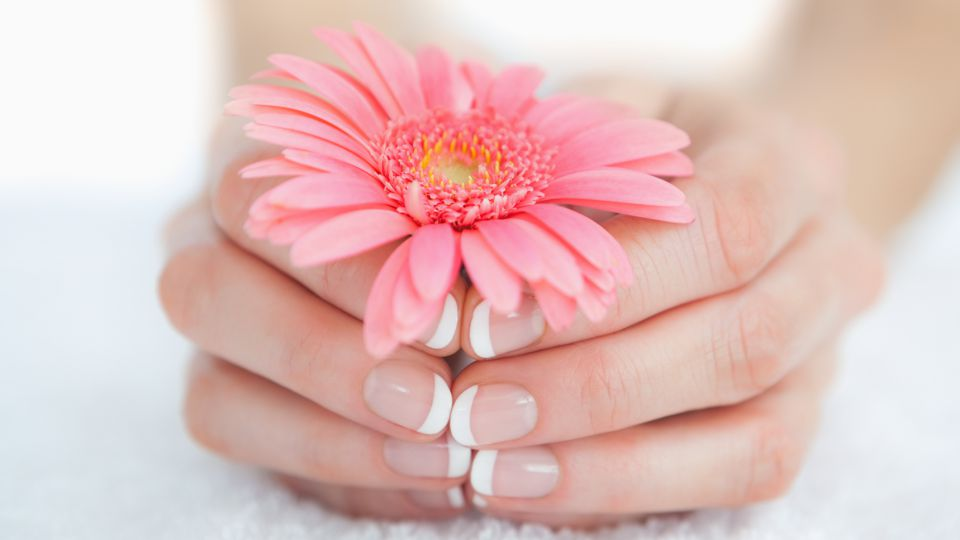 TEENAGER MANICURE WITH FRENCH NAIL POLISH