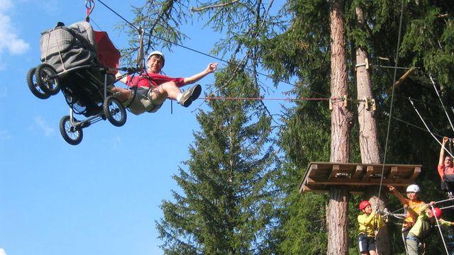 Kletterspaß im Hochseilgarten von Kaltern